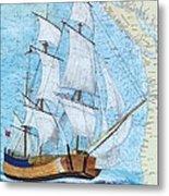 Hms Endeavour Tall Sailing Ship Chart Map Art Peek Metal Print