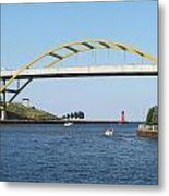 Hoan Bridge Boats Light House 1 Metal Print