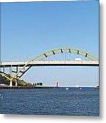 Hoan Bridge Boats Light House 4 Metal Print