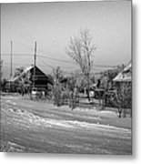 hoar frost covered street in small rural village of Forget Saskatchewan Canada Metal Print