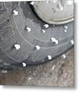 Hoarfrost On Tire Metal Print