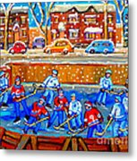 Hockey Art Collectible Cards And Prints Snowy Day  Neighborhood Rinks Verdun Montreal Art C Spandau Metal Print