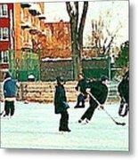 Hockey Art Shimmy Game Local Rink Montreal Paintings Winter Street Scene Verdun Art Carole Spandau Metal Print