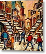 Hockey Game Near Winding Staircases Montreal Streetscene Metal Print by Carole Spandau