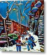 Hockey Game On De Bullion Montreal City Scene Metal Print