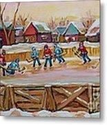 Hockey Game-outdoor Hockey -beautiful Canadian Winter Landscape-hockey Heroes-carole Spandau Metal Print