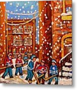 Hockey In The Laneway On Snowy Day Paintings Of Montreal Streets In Winter Carole Spandau Metal Print