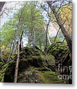 Hocking Hills Moss Covered Cliff Metal Print