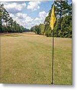 Hole Flag At A Golf Course Metal Print