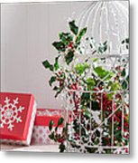 Holiday Birdcage Metal Print