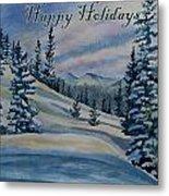 Happy Holidays - Winter Landscape Metal Print