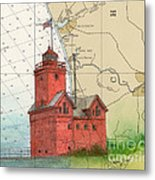 Holland Harbor Lighthouse Mi Nautical Chart Map Art Metal Print