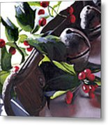 Holly And Bells Metal Print