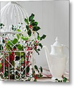 Holly And Berries Birdcage Metal Print