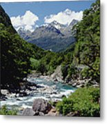 Hollyford River And The Eyre Range Metal Print