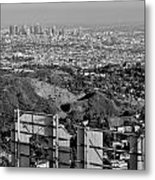 Hollywood And Los Angeles City Skyline Metal Print