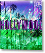Hollywood Day And Night Metal Print