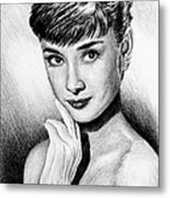 Hollywood Greats Hepburn Metal Print