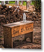 Holt Cemetery - God Is Love Bench Metal Print
