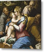 Holy Family With Saint Francis In A Landscape Metal Print