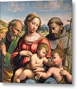 Holy Family With The Infant St. John The Baptist And St. Francis Metal Print