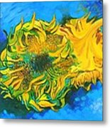 Homage To Dear Master Van Gogh Two Cut Sunflowers Metal Print