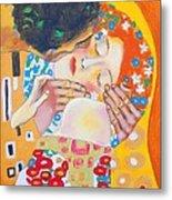 Homage To Master Klimt The Kiss Metal Print