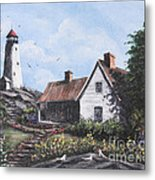 Home By Lighthouse Metal Print