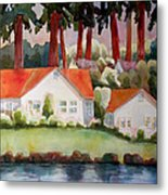 Home By The Lake Metal Print by Blenda Studio
