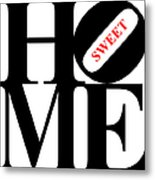 Home Sweet Home 20130713 Black White Red Metal Print by Wingsdomain Art and Photography