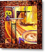 Home Sweet Home Decorative Design Welcoming One Metal Print