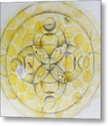 Honey Bee Mandala Metal Print