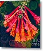 Honeysuckle Bloom In An Abstract Garden Painting Metal Print