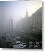 Honfleur Harbour In Fog. Calvados. Normandy. France. Europe Metal Print by Bernard Jaubert