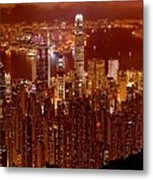 Hong Kong In Golden Brown Metal Print