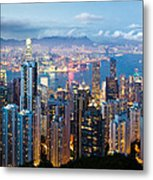 Hong Kong At Dusk Metal Print