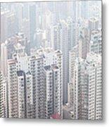 Hong Kong City In The Mist Metal Print