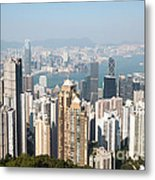 Hong Kong Harbor From Victoria Peak In A Sunny Day Metal Print by Matteo Colombo