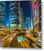 Hong Kong Highway At Night Metal Print