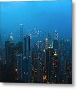 Hong Kong In Foggy Night Metal Print