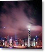 Hong Kong Laser Lights Metal Print