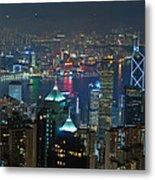 Hong Kong Night Scene Metal Print