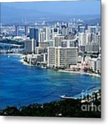 Honolulu And Waikiki From Diamond Head Metal Print