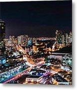 Honolulu Night Panorama Metal Print