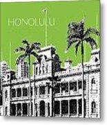 Honolulu Skyline Iolani Palace - Olive Metal Print