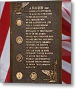 Honor The Veteran Signage With Flags 2 Panel Composite Digital Art Metal Print