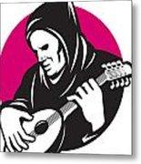 Hooded Man Playing Banjo Guitar Metal Print