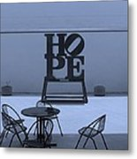 Hope And Chairs In Cyan Metal Print
