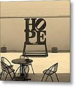 Hope And Chairs In Sepia Metal Print
