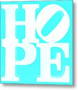 Hope Inverted Aquamarine Metal Print